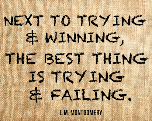 Next to trying and winning, the best thing is trying and failing.